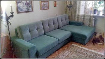 Перетяжка угловых диванов в Казани